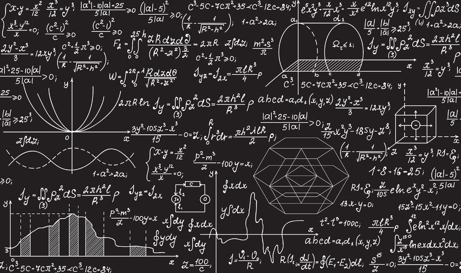 Algorithms and formulas on a chalkboard
