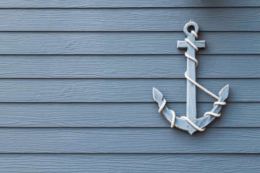 Anchor on blue wall